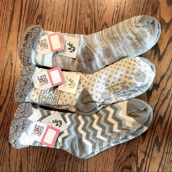 3 pairs Muk Luks Faux Shearling Cabin Socks